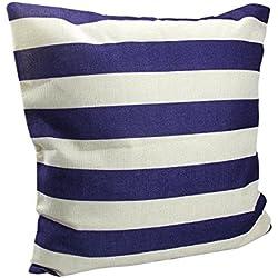homiki 1pc cojín con 100% fibra relleno rayas Denim Marino rayas crema azul y blanco cojín funda de cojín (algodón forma de almohada cuadrado 45* 45cm