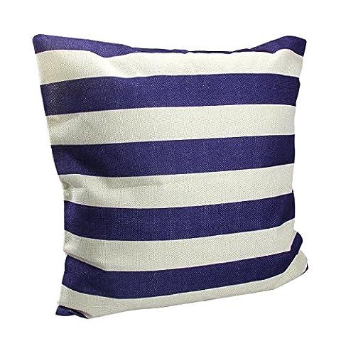 homiki 1PC Coussin avec 100% fibre garni rayé Denim Marine rayures crème Bleu et Blanc Coussin Imprimé Housse de coussin en coton Forme d'oreiller carré 45*45cm