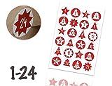 TK Gruppe Timo Klingler Calendario dell'Avvento Adesivi Natalizi Etichette Adesivi Numeri Pulsanti 1-24 Autoadesivo per armeggiare (Edizione 2)