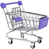 NF&E Kids Children Pretend Play Mini Shopping Entertainment Fun Cart Trolley Home Room Office Decor Toy Gift Purple