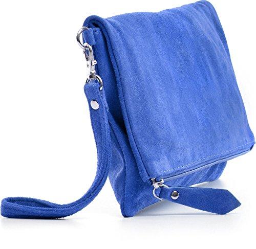 CNTMP, Borsa da Donna, Clutch, Pochette, Borsetta da Sera, In Pelle Scamosciata, Con Tasca in Pelle (LARGE), 32x17x2,5cm (L x H x P) blu
