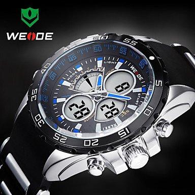 XKC-watches Herrenuhren, WEIDE Männer Sportlich Analog-Digital-Uhr Kautschukband Stoppuhr/Alarm-Hintergrundbeleuchtung/Wasserdicht (Farbe : Blau)