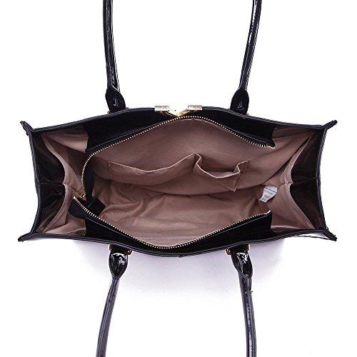 LeahWard® Damen Kunstleder Tote Handtaschen Groß Schultertasche Für Sie Schwarz/D.nackt