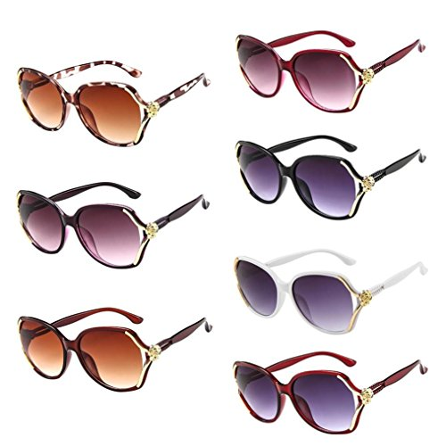 CLEARANCE! TOAMEN MENS WOMENS VINTAGE RETRO ROSE BIG FRAME TRENDY FASHION SHADES SUNGLASSES - OFFERING FULL UV400 PROTECTION - SUITABLE FOR OUTDOOR ACTIVITIES