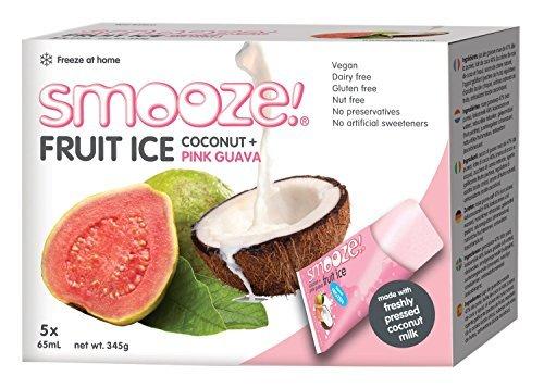 Smooze Alle Natürlichen Früchte Eis-Lollies Rosa Guave und Kokosmilch 65 ml (2 stück, Gesamt 10)