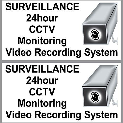 2 Sticker 20cm Aufkleber Video Überwachung Attention Note Surveillance 24hour CCTV Monitoring Video Recording System Video-recording-system