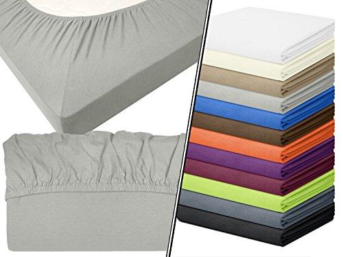 Jersey-Spannbetttuch in Top-Qualität - mit einer Steghöhe von ca. 35 cm - 100% Baumwolle - erhältlich in 6 verschiedenen Größen und 12 ausgesuchten Farben, 1 Stück - Jersey-Spannbetttuch ca. 90-100 x 200 cm, silber (12 Stück Baumwolle Bath)
