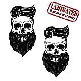 2 Stück Vinyl Aufkleber Autoaufkleber Skull Schädel Modern Bart Totenkopf Funny Horror Stickers Auto Moto Motorrad Fahrrad Helm Fenster Tür Tuning B 136