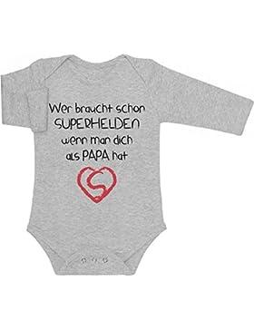 Wer Braucht SUPERHELDEN Wenn Man Dich Als PAPA Hat Baby Langarm Body