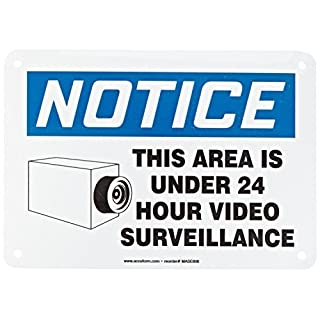 Accuform Signs MASE806VA Aluminum Safety Sign, Legend NOTICE THIS AREA IS UNDER 24 HOUR VIDEO SURVEILLANCE with Graphic, 7 Length x 10 Width x 0.040 Thickness, Blue/Black on - 2 Pack by Accuform Signs
