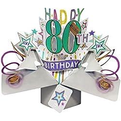 """Second Nature Pop Ups Geburtstag Pop Up Card mit""""Happy 80th Birthday"""" Schriftzüge und Sterne"""