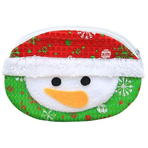 (Weihnachtskarikatur-Mappe (runder Schneemann), Malloom Nette Geldbörse Handtasche Geldwechsel Kartenhalter Geldbörsen Kleine Geldbörse Tasche)