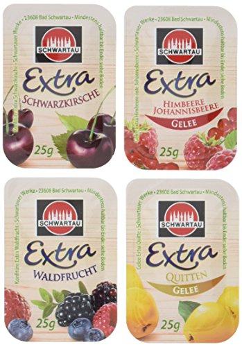 Dr. Oetker/Schwartau Sortimentskarton \'Specials\' 100 x 25 g Waldfrucht- & Schwarzkirschkonfitüre, Himbeer-, Johannisbeer- & Quittengelee, 1er Pack (1 x 2.5 L)