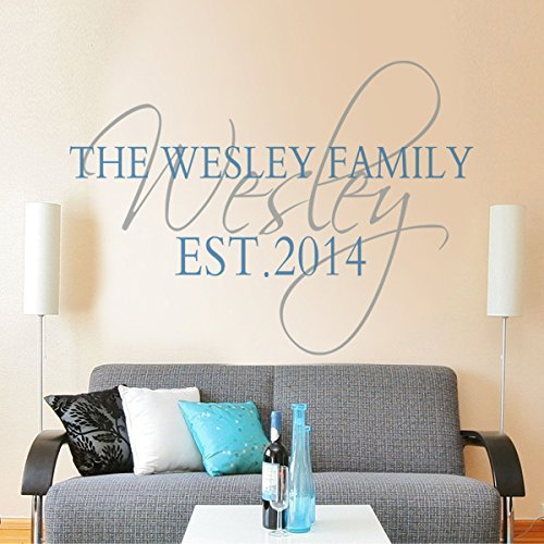 Vinyl Family Name Decal Personalized Family Name Quote Monogram Established Date Wall Decal Wall Graphic Family Custom Decor by DigTour WallArt -