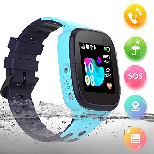 SmartWatch Kinder Wasserdicht LBS Tracker Kinderuhr Junge Mädchen Uhr Phone für Kinder(Q15-Blau) (Kids-uhren Mädchen Wasserdicht)