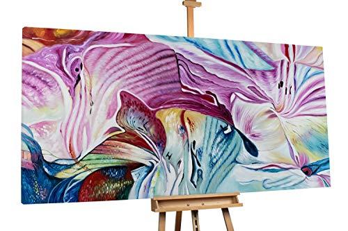 'Saison der Blumen' 200x100cm | Abstrakt Blume Bunt Lila XXL | Modernes Kunst Ölbild