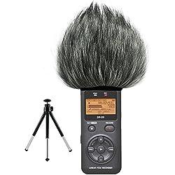 First2savvv TM-DR-05-C01G6 Micrófono Externo Peludo Parabrisas Manguito Para Grabadores digitales para Tascam DR-05 . DR05 + Mini trípode
