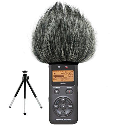 First2savvv TM-DR-05-C01G6 Microfono Parabrezza Copertura Antivento Shell Cuffia Antivento in Pelliccia Sintetica per Microfoni a Fucile per Tascam DR-05 . DR05 + Mini treppiede