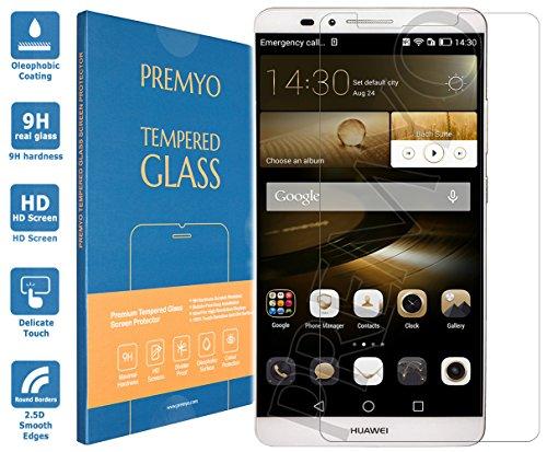 PREMYO vetro temperato Huawei Mate 7. Pellicola vetro temperato Mate 7 con una durezza di 9H e bordi arrotondati da 2,5D. Pellicola in vetro Mate 7