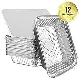 Teglie in alluminio usa e getta, larghi contenitori per cucinare al forno, circa 23 cm x 23 cm, adatti per cucinare, conservare e congelare gli alimenti, con coperchi (12 pezzi)