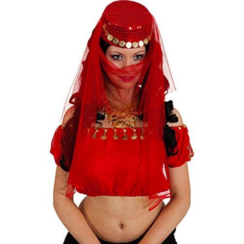 NET TOYS Orient Schleier und Kappe Bauchtanz Kopfschmuck rot Gesichtsschleier und Mütze Harem Tänzerin Kopfbedeckung Arabischer Haarschmuck Bollywood Kostüm Schmuck Karnevalskostüme ()