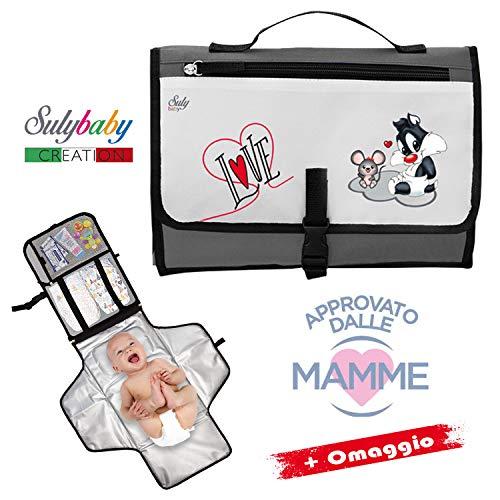 Borsa fasciatoio portatile pieghevole - kit per cambio neonato - borsa fasciatoio da viaggio per bambini - cambia il pannolino ovunque - materassino totalmente imbottito
