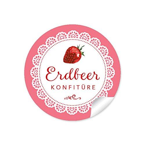 24 STICKER: 24 Schöne Marmeladenetiketten für die Küche in Weiß Rot mit liebevoll illustrierter Erdbeere