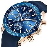 BENYAR Herren Uhr Chronograph Analogue Quartz Wasserdicht Business Blau Zifferblatt Armbanduhr mit Silikon Armband