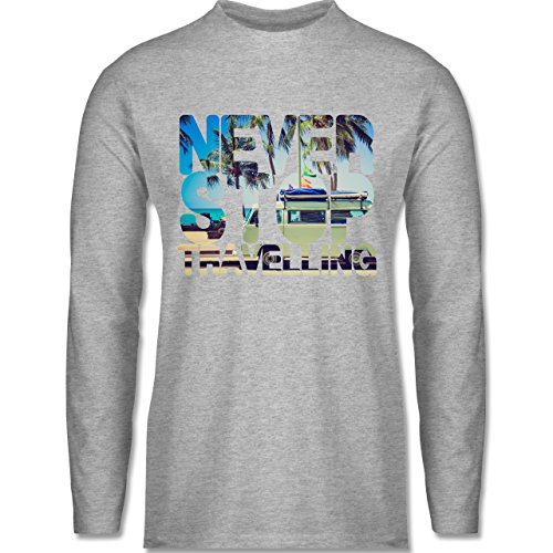 Shirtracer Statement Shirts - Never Stop Travelling Meer Palmen - Herren  Langarmshirt Grau Meliert