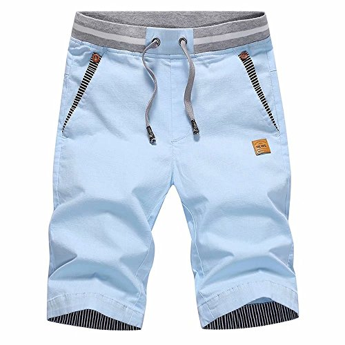 JustSun Mens Cotton Casual Shorts with Elastic Waist