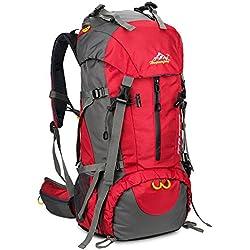 Skysper 50L Mochilas de Senderismo al aire libre Mochila de Senderismo Macutos Impermeable Ergonómica para Viajes Excursiones Acampadas Trekking