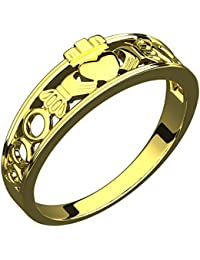 14K Gold Plated Silver Claddagh Ring