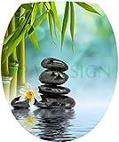 Sticker Autocollant Abattant WC Galets Fleurs Bambou 35x42cm SAWC0211
