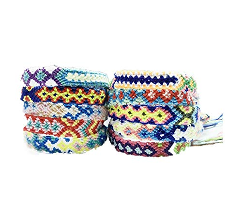Yongbest Gewebte Armbänder, 10 Stück Handgemachte Freundschaft Armbänder Bunte Geflecht Freundschaftskabel für Handgelenk Knöchel Männer Frauen Kinder