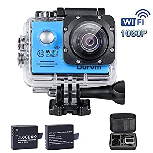 WIFI Underwater Action Camera Full HD 1080P Waterproof Camera Motion Detection Sports Camera with 2 Free Batteries, Portable Handbag and 19 Accessories Kits for Kids, Bike, Helmet, Motorcycle, Fishing, Chlidren, Snorkelling
