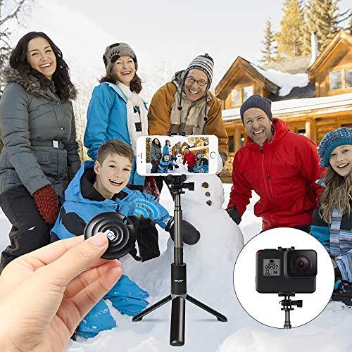 Innoo Tech [ Telecomando Removibile ] Selfie Stick Bluetooth Action Cam, Bastone Selfie treppiede Estensibile per iPhone/Android/Samsung/Gopro, otturatore a Telecomando