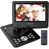 """DBPOWER 9.5"""" Lecteur DVD Portable avec écran orientable, compatibilité carte SD et interface USB, lit directement les formats MP4, AVI, RMVB, MP3 et JPEG (Noir, 9.5)"""
