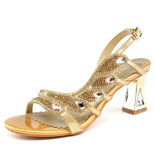 ZWME Damen Peep Toe Strass Straps Strappy Stilettos Slingback Pump Low Mid Heels Kleid Party Sandalen,Gold-EU38/240 T-strap Dorsay Pump