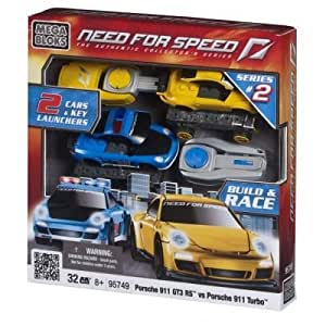 Mega Bloks 95749 Need For Speed Cars and Launcher 2-Pack - Porsche 911 Turbo Police vs Porsche 911 GT3 RS