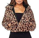 Manadlian DamenHoodie Mantel Frau Streetwear Kleidung Winter Leopard Kapuzenpullover Kunstpelz Lange Ärmel Strickjacke Jacke Outwear