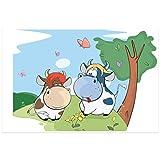 Topposter Poster für Kinderzimmer - Kleine Kuh verliebt (Poster in Gr. 60x90cm)