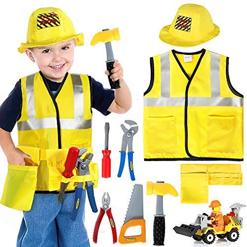 Tacobear Bauarbeiter Kostüm Kinder Handwerker Kinderkostüm Rollenspiel Set mit Werkzeug und Fahrzeug Spielzeug Karneval Halloween Fasching