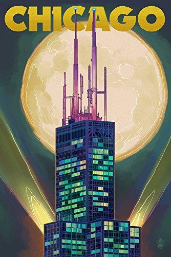 Chicago, Illinois-Willis Tower und Full Moon, Papier, multi, 12 x 18 Art Print