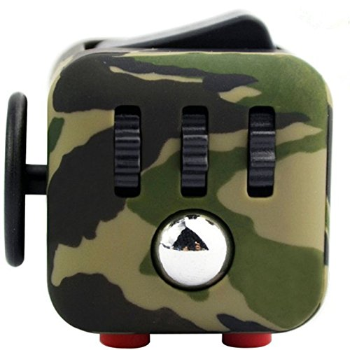 Caroki Fidget Cube Relieves Stress And Anxiety for Children and Adults Anxiety Attention Toy (Camouflage Green)