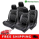 #9: Hi Art Black and Silver Leatherite Custom Fit Car Seat Covers for Tata Tiago - Complete Set