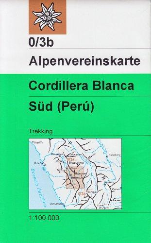 Cordillera Blanca Sud (Pérou) 1:100 K trekking carte, Alpenvereinskarte