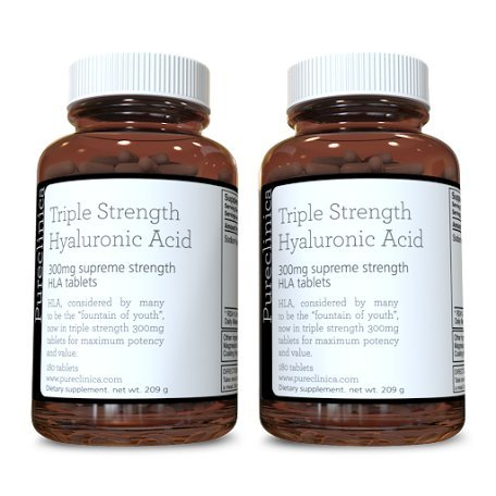 Hyaluronic Acid 300mg x 360 tablets (2 bottles each with 180 tablets - 6 months supply). Triple Strength Hyaluronic Acid. 300% stronger than any other HLA tablet. SKU: HLA3x2 Test