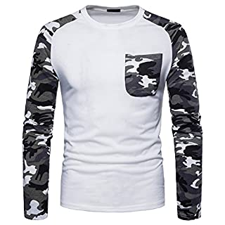 Anyu Men's Round Collar Loose Casual Camouflage Splicing Outdoor Sweatshirt Tops White L