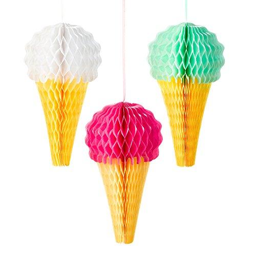 (Talking Tables We Heart Ice Cream; Wabenbälle zum Aufhängen; Eisdekorationen für Geburtstage und Sommerpartys, Bunt (3 pro Pack))