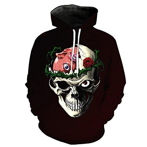 Schädel Hoodie Unisex glücklich, 3D Print Skelett, Schädel, Horror ...